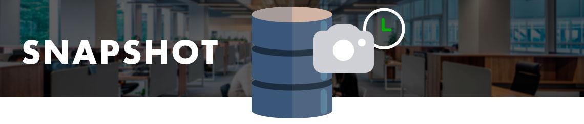 Ambiente corporativo ao fundo e um hard disk com símbolo de máquina fotográfica e um relógio simbolizando o recurso Snapshot