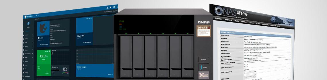 Tela do software do FreeNAS, NAS4free e Qnap NAS lado a lado