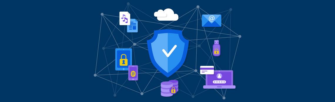 Ícones de arquivos protegidos pela segurança do backup
