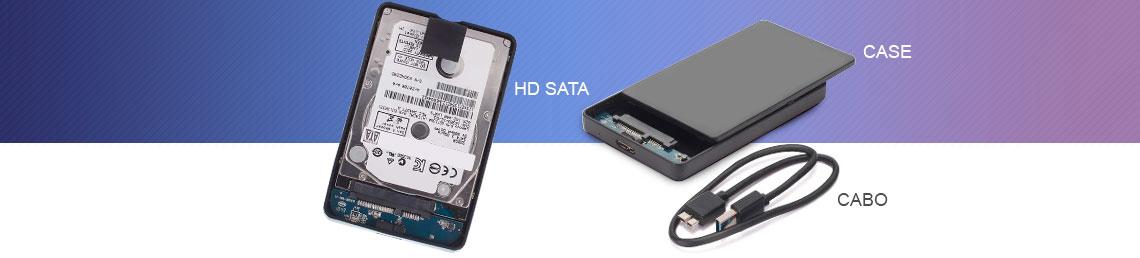 Imagem de um HD externo aberto e expondo o case, hd interno SATA e cabo